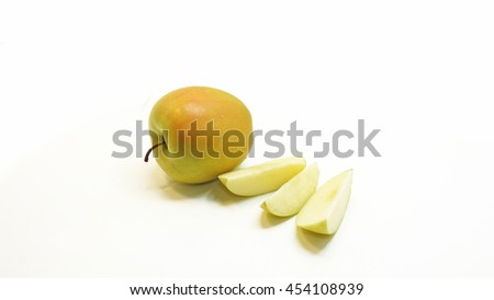 Green apple composition. Isolated on white background.