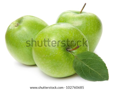 Green apple fruits and green leaves isolated on white background - stock photo