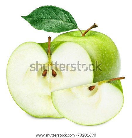 Green apple fruits and half of apple and green leaves isolated on white background - stock photo