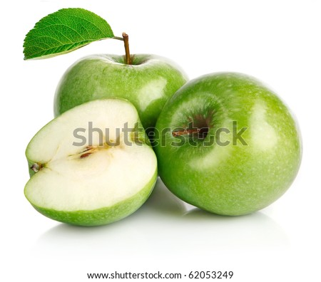green apple fruits with cut and leaf isolated on white background - stock photo