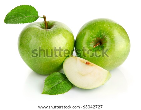 green apple fruits with cut isolated on white background - stock photo