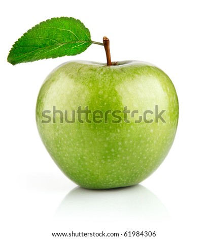 green apple fruits with leaf isolated on white background - stock photo
