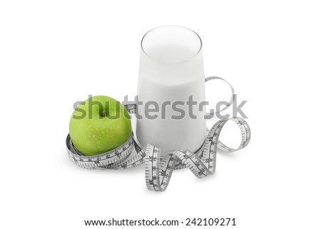 Green apple,glass of milk and measuring tape isolated on white. Healthy diet concept. - stock photo