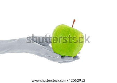 Green apple in hand  isolated on white