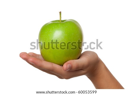 green apple in hand on white background - stock photo