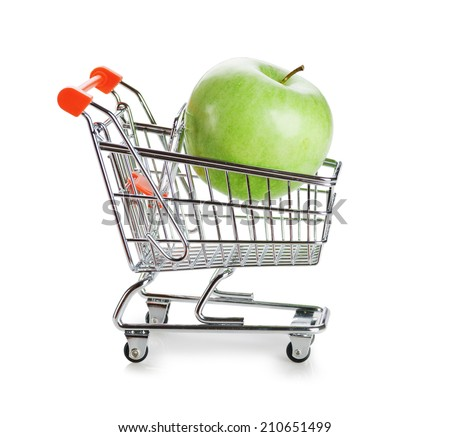 green apple in shopping carts isolated on white background - stock photo