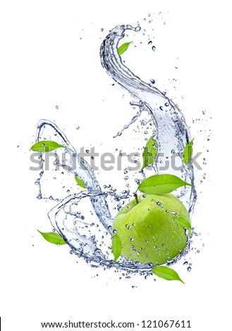 Green apple in water splash, isolated on white background - stock photo