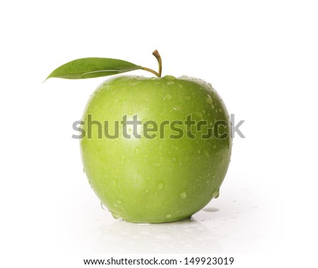 Green apple isolated on a white  - stock photo