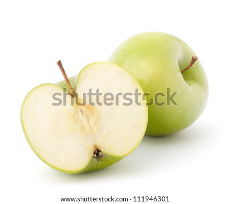 Green apple isolated on white background cutout - stock photo