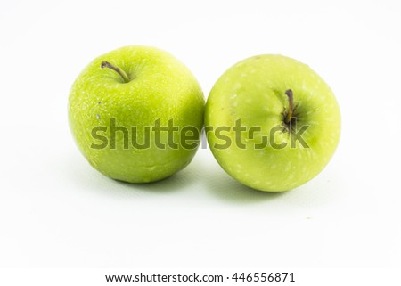 Green apple isolated on white background.Fruit for health and diet and hi-vitamin c. - stock photo