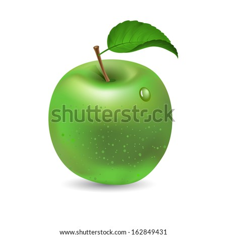 Green apple isolated on white, raster version - stock photo