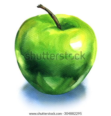 Green apple, isolated, watercolor painting on white background - stock photo