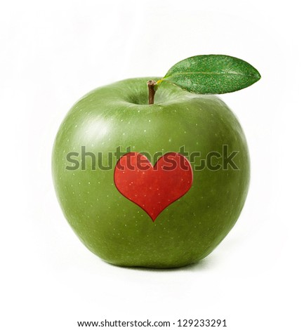 Green apple isolated with red heart