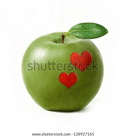 Green apple isolated with two hearts
