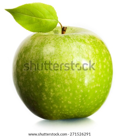 Green apple on a white background. - stock photo