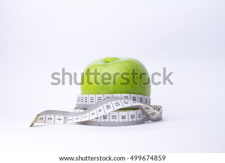 green apple on a white background and the meter
