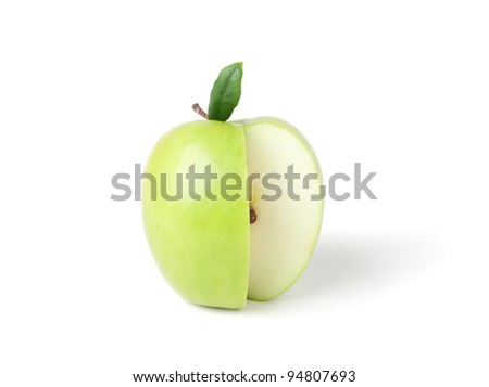 Green apple on a white background. Isolated on a white background.  Clipping path. - stock photo