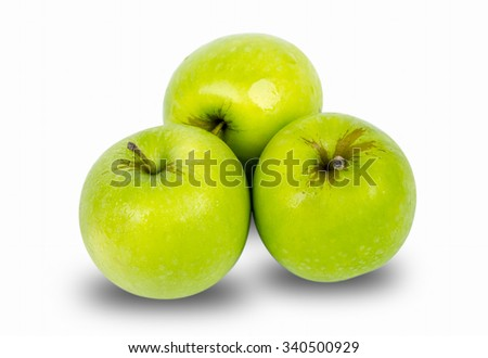 green apple on isolated background - stock photo