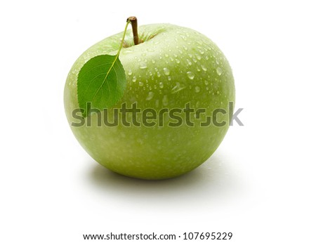 Green apple on the white background - stock photo