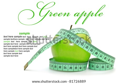 Green apple on white background