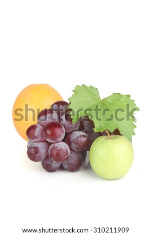 Green Apple, Orange and Grapes with White Isolated Background - stock photo