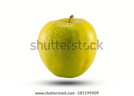 green apple, organic fruit on white background and clipping path
