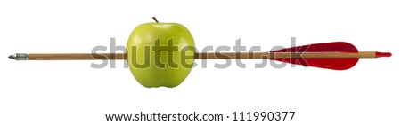 Green apple pierced by an arrow. On white background (with clipping path)