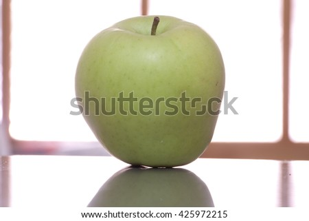 Green apple ready to eat