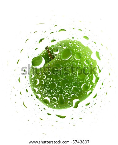 Green apple. water drops background texture - stock photo