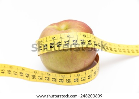 green apple with a meter on a white background