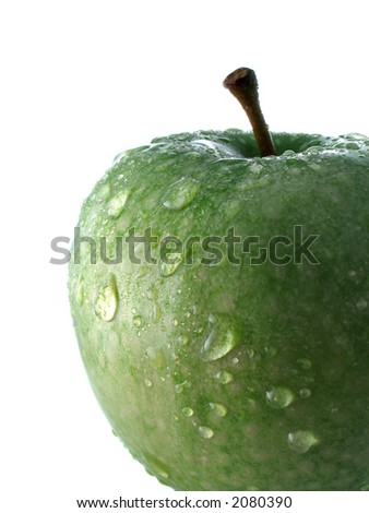 Green apple with drops - stock photo