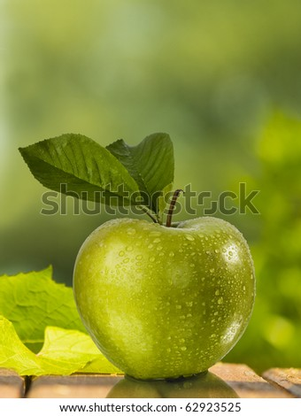 green apple with green background - stock photo