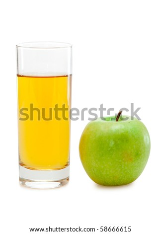 green apple with juice - stock photo