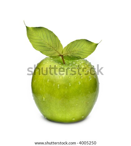 Green apple with leaf and watter drop