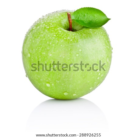Green apple with leaf in water drops isolated on white background - stock photo