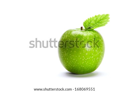 Green Apple with Leave - stock photo