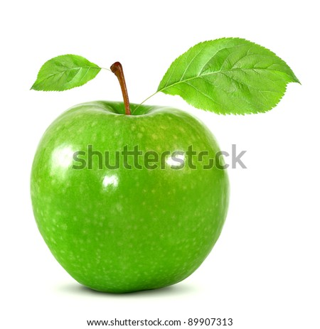 green apple with leaves isolated on white - stock photo