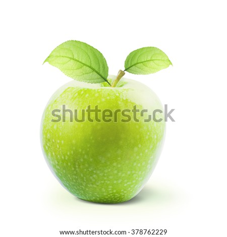 Green Apple with leaves isolated on white background with clipping path