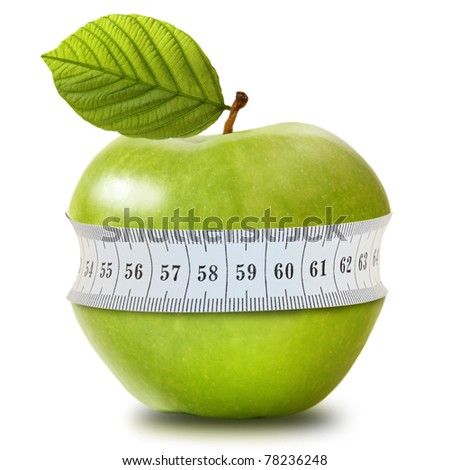 Green apple with measurement isolated on white - stock photo