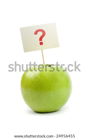 green apple with question mark - stock photo