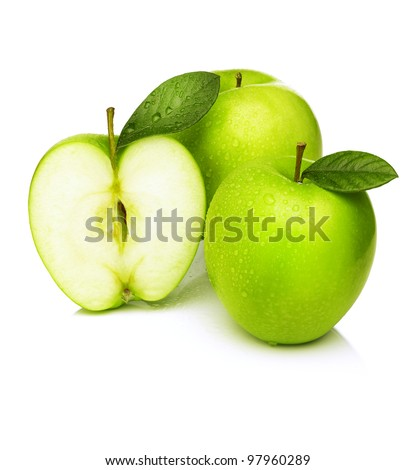 Green apple with water droplets on white background - stock photo