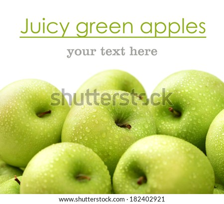 green apple with water drops close-up macro, background - stock photo