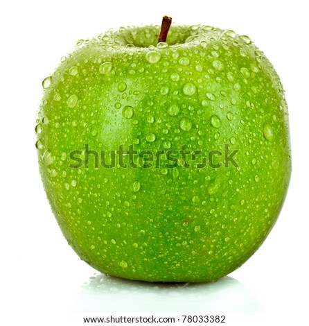 Green apple with water drops isolated on white - stock photo