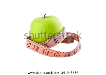 Green apple wrapped with  tailor meter isolated on white background with clipping path.