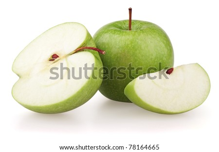 Green apples and apple slices isolated on white background - stock photo