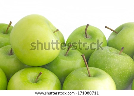 Green apples fresh from the farm ready to eat - stock photo
