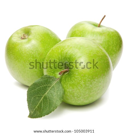 Green apples isolated - stock photo