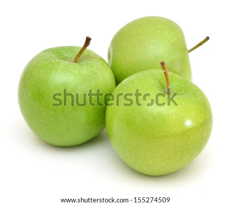 green apples isolated on white  - stock photo