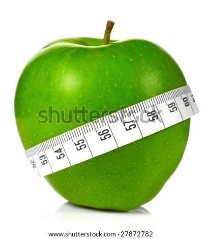 Green apples measured  the meter, sports apples