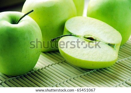 green apples on table - stock photo